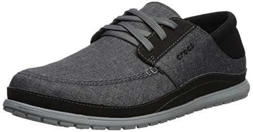 Crocs Men's Santa Cruz Playa Lace-Up Sneaker | Comfortable Casual Loafer, Slate Grey/Light Grey, 11 M US