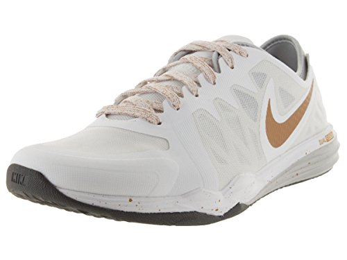 Nike Womens Dual Fusion TR 3 Print Running Trainers 704941 Sneakers Shoes (US 6, White Metallic Gold Pure Platinum Wolf Grey 103)