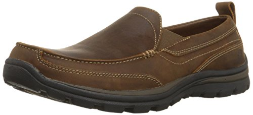 Skechers USA Men's Relaxed Fit Memory Foam Superior Gains Slip-On,8 M US,Dark Brown