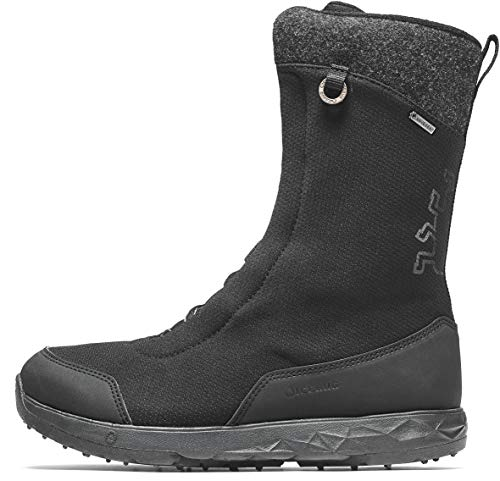 Icebug Gore-TEX Waterproof Insulated Winter Boots for Women: Fern BUGrip GTX Mid-Calf, Side Zipper Boot - Studded Traction Sole for Ice & Snow, Black, 8.5