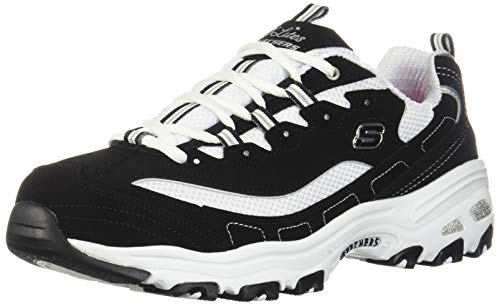 Skechers Sport Women's D'Lites Biggest Fan Memory Foam Lace-up Sneaker Fashion, Black/White, 9.5 W US
