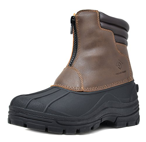DREAM PAIRS Men's Indiana-2 Brown Insulated Waterproof Winter Snow Boots Size 9 M US