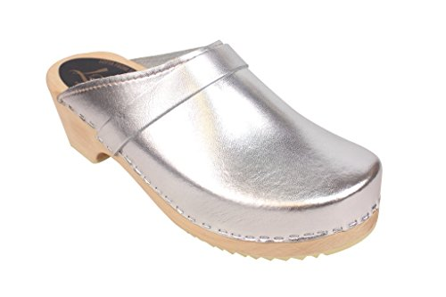 Lotta From Stockholm Swedish Clogs : Classic Clog in Silver - 8