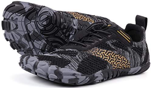 JOOMRA Minimalist Trail Running Shoes Women Wide Camping Athletic Hiking Trekking 5 Toes FiveFingers Gym Workout Sneakers Lightweight Footwear Black Size 9.5