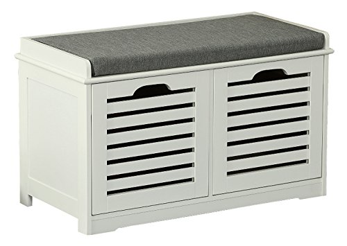 Orolay Storage Bench with 2 Drawers & Seat Cushion Shoe Cabinet ZHXD24 White