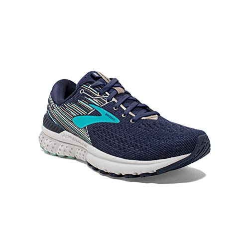 Brooks Womens Adrenaline GTS 19 Running Shoe - Navy/Aqua/Tan - B - 10.0