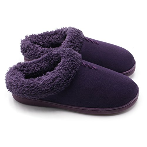ofoot Women's Warm Clog Slippers,Memory Foam Indoor Outdoor Hard Bottom Rubber Soles Slippers with Back for Women Purple