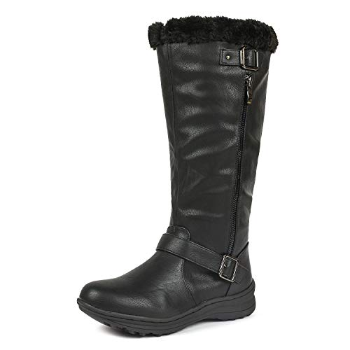 DREAM PAIRS Women's Winter Fully Fur Lined Zipper Closure Snow Knee High Boots
