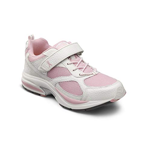 Dr. Comfort Women's Victory White Diabetic Athletic Shoes: Pink 7.5 Medium (A/B)