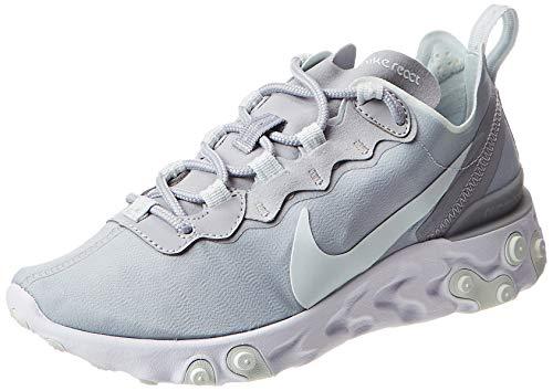 Nike Women's React Element 55 Running Shoe (5.5, Multicoloured (Wolf Grey/Ghost Aqua/White 005)
