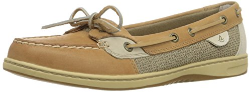 Sperry Womens Angelfish Boat Shoe, Linen/Oat, 9