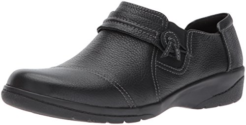 Clarks Women's Cheyn Madi Loafer, Black Tumbled Leather, 9 M US