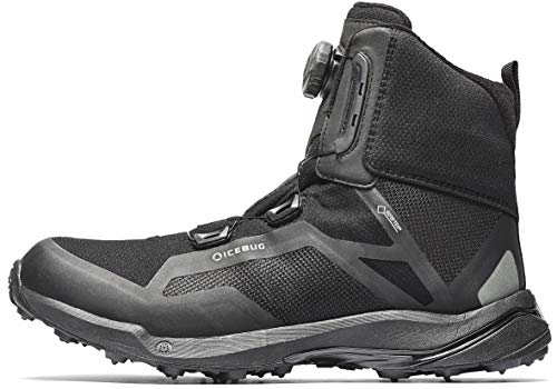 Icebug Gore-TEX Waterproof Boots for Men: Walkabout GTX Mens Outdoor BOA Lacing Winter Boot - Studded Traction Sole for Snow & Ice, Black, 9
