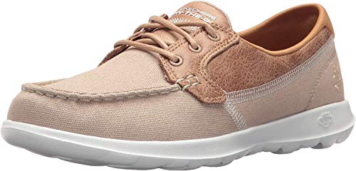 Skechers Performance Women's Go Walk Lite-15430 Boat Shoe,natural,5 M US