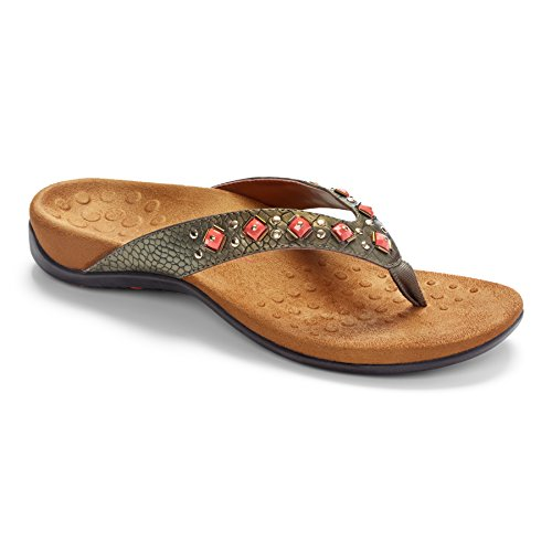 Vionic Women's Rest Floriana Toepost Sandal - Ladies Flip Flops with Concealed Orthotic Support Bronze Croco 9 W US