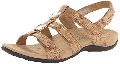 Vionic Women's Women's Rest Amber Backstrap Sandal - Ladies Adjustable Walking Sandals with Concealed Orthotic Arch Support Gold Cork 12 M US
