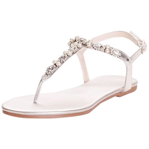 David's Bridal Pearl and Crystal T-Strap Sandals Style Sarina, Silver Metallic, 5