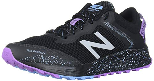 New Balance Women's Fresh Foam Arishi Trail V1 Running Shoe, Black/Purple/Neo Violet, 8 M US