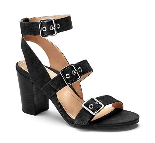 Vionic Women's Perk Carmel Backstrap Heel – Ladies Strappy Dress Sandals with Concealed Orthotic Support - Black Leather 9M