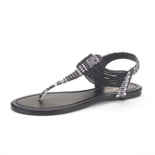 DREAM PAIRS Spparkly Women's Elastic Strappy String Thong Ankle Strap Summer Gladiator Sandals Black Multi Size 5