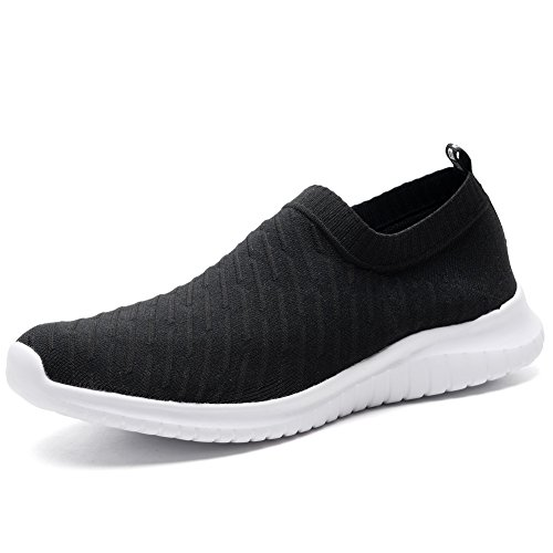 TIOSEBON Women's Walking Shoes Lightweight Mesh Slip-on- Breathable Running Sneakers 8.5 US Black