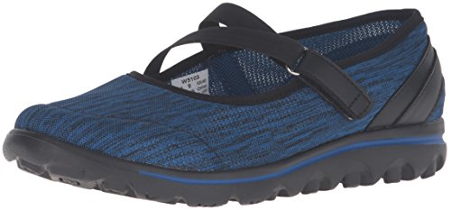Propet Women's TravelActiv Mary Jane Flat, Black/Navy Heather, 5.5 Medium