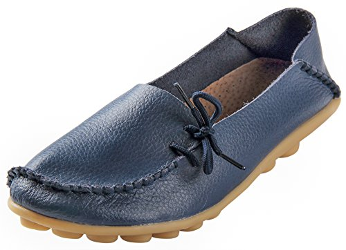Serene Womens Dark Blue Leather Cowhide Casual Lace Up Flat Driving Shoes Boat Slip-On Loafers - Size 9