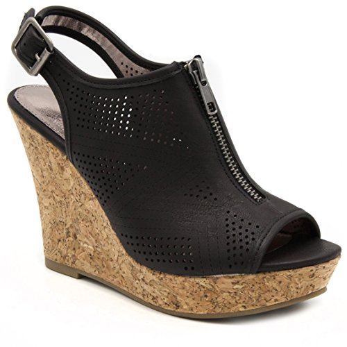 Sugar Women's Caty Fashion Slingback Peep Toe Cork Wedge Sandals with Perferated Design Zipper and Buckle 7.5 Dark Natural