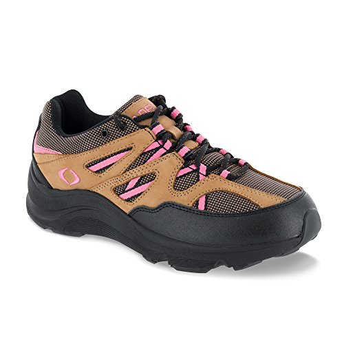 Apex Women's Sierra Trail Runner Hiking Shoe Sneaker, Brown/Pink, 8.5 Extra Wide US