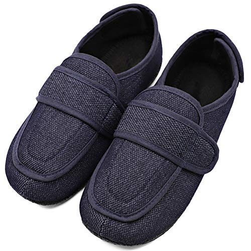 MEJORMEN Mens Extra Extra Wide Slipper Orthopaedic Adjustable Diabetic Edema Boot/Slippers for Swollen Feet (10 M US, Navy)