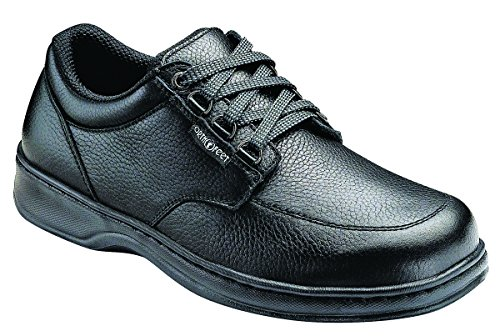 Orthofeet Proven Relief of Foot and Heel Pain. Extended Widths. Best Plantar Fasciitis Orthopedic Diabetic Men's Oxford Shoes, Avery Island Black