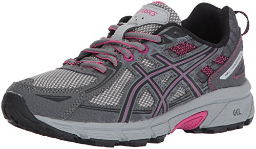 ASICS Women's Gel-Venture 6 Running-Shoes,Carbon/Black/Pink Peacock,8.5 Medium US