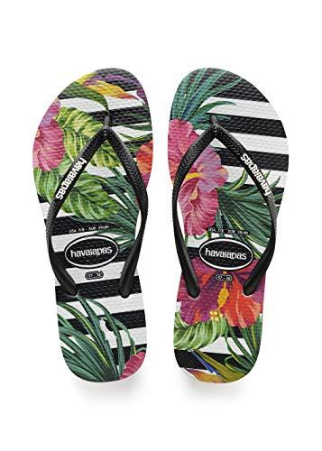 Havaianas Women's Slim Tropical Sandal, Black/Black/Imperial Palace, 5/6 M US