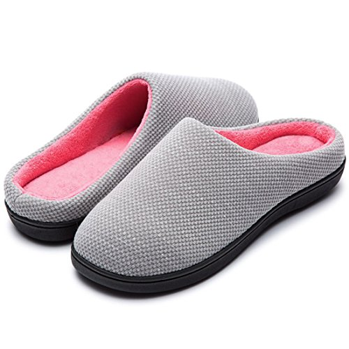 RockDove Women's Original Two-Tone Memory Foam Slipper, Size 11-12 US Women, Gray/Pink