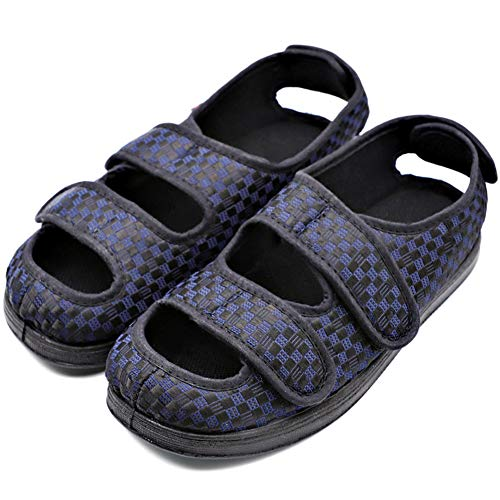 Womens Diabetic Slippers Swollen Feet Adjustable Touch Close Strap Edema House Shoes Sandals Comfortable Extra Wide Fit Footwear Relief for Arthritis Mother Elderly Indoor Outdoor Blue
