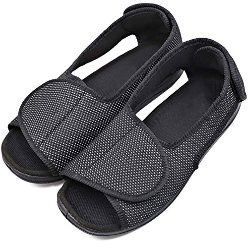 Men's Diabetic Shoes Swollen Feet Slippers Adjustable Strap Comfortable Orthopedic Wide Footwear Open Toe Sandals Easy On Off for Diabetic & Edema Elderly (11.5 M US, Breathable - Black)