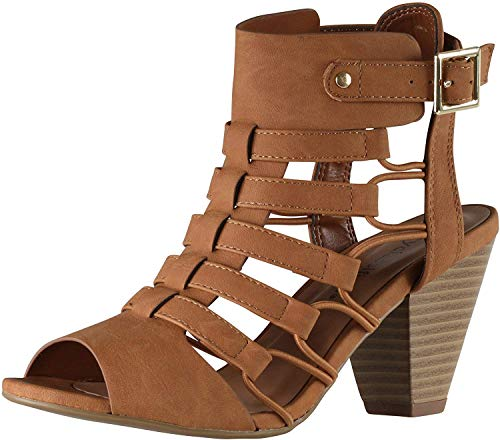 City Classified Awesome Gladiator Strappy Chunky Block Heel (5.5, Tan)