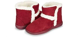 Floopi Womens Indoor Outdoor Bootie Slipper - Sherpa Fur Lined Clog W/Memory Foam (S, Burgundy-201) 1 of 5