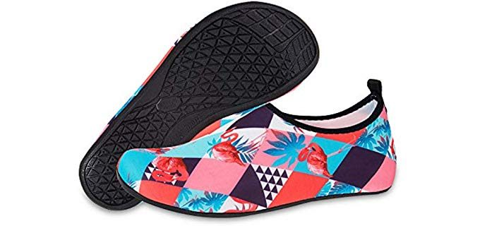 Water Shoes for Womens and Mens Summer Barefoot Shoes Quick Dry Aqua Socks for Beach Swim Yoga Exercise (Flamingo/Pink, 46/47) 3 of 6